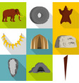 former time icons set flat style vector image vector image