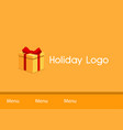 gift box pressent for holiday logo vector image vector image
