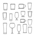 glass line icon set vector image