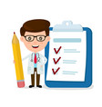 happy smiling doctor with pencil vector image