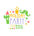 holiday party for kids promo sign childrens party vector image vector image