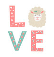 letters love with elements and cute sheep vector image vector image