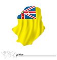 Map of Niue with flag vector image vector image
