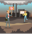 people protesting against air pollution with vector image