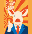 pig businessman with coin metaphor piggy bank vector image vector image