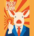 pig businessman with coin metaphor piggy bank vector image