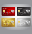 realistic detailed credit cards set with colorful vector image