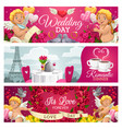 romantic cards wedding day forever love dinner vector image
