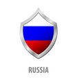 russia flag on metal shiny shield vector image