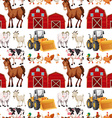 Seamless background with farm animals and barns vector image