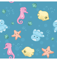 Seamless pattern of underwater creatures vector image