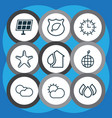 set of 9 eco icons includes aqua world ecology vector image vector image