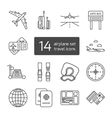 Set of isolated thin lined outlined icons for vector image vector image