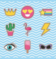 set of patches or stickers cute cartoon icons vector image vector image