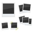 Set Polaroid photo frames on white background