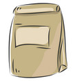 simple beige paperbag on white background vector image