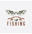 vintage fishing design template vector image vector image