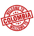 welcome to colombia red stamp vector image vector image