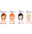 woman seasonal color types appearance vector image vector image