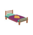 wooden bed for kids with pillow and purple blanket vector image vector image