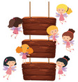 wooden sign and cute fairies flying vector image