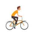 young man running cycling on bicycle active vector image