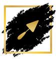 trowel sign golden icon at black spot vector image