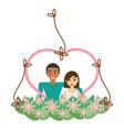 couple lovely heart frame flowers decorative vector image