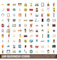 100 business icons set cartoon style vector image vector image