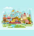 amusement park concept on the mountains vector image vector image