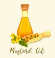 bottle with mustard oil with seeds in scoop vector image
