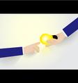 businessman hand holding ideas light give ideas vector image