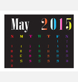 Calendar May 2015 vector image vector image