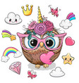 cartoon owl unicorn girl and set cute design vector image vector image
