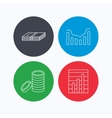 Cash money and dynamics chart icons vector image