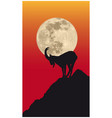chamois silhouette in front moon vector image
