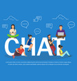 chat of young people using mobile vector image vector image