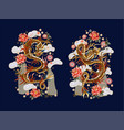 chinese traditional dragon peonies and sakura vector image vector image