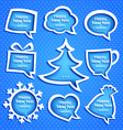 Christmas speech bubles set various shapes on blue vector image