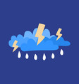 cloud with lightning and rain icon cartoon of vector image