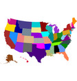 colored map of usa vector image vector image