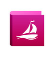 cruise ship icon pink color isolated white vector image vector image
