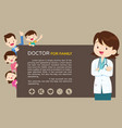 doctor woman and cute family background vector image vector image