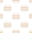 double hamburger outline seamless pattern vector image vector image