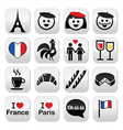 France I love Paris icons set vector image vector image