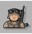 Icon Soldier in uniform with a gun in camouflage vector image vector image