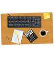 keyboard and office supplie vector image vector image