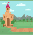 landscape with fairy medieval castle vector image