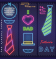 neon card for fathers day vector image vector image
