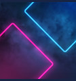 neon light rectangle smoke effect vector image